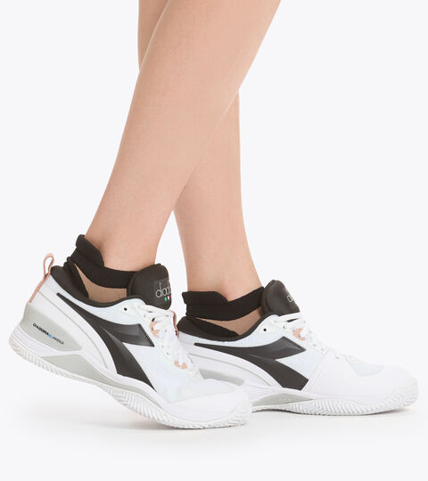 Clay court tennis shoe - Women SPEED BLUSHIELD 5 W CLAY WHITE/SILVER/BLACK. - Diadora