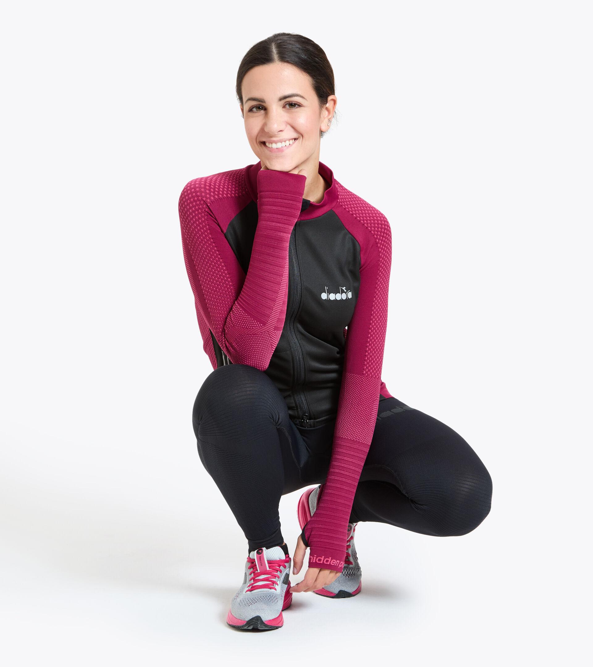 Chaqueta para correr Made in Italy - Mujer L. HIDDEN POWER JACKET RODODENDRO - Diadora
