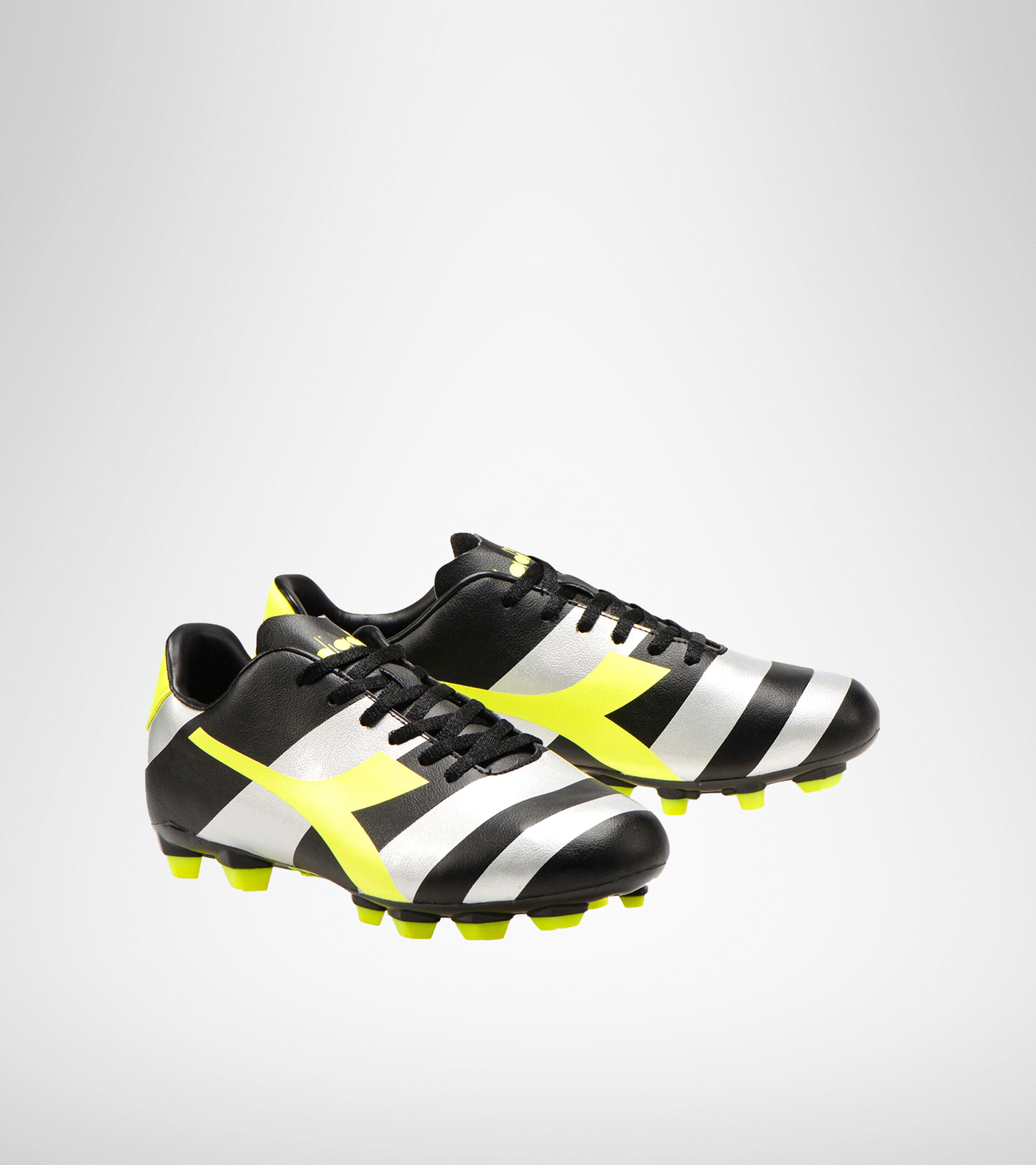 Chaussures de football pour terrains compacts RAPTOR R LPU NERO/ARGENTO/GIALLO FL DD - Diadora