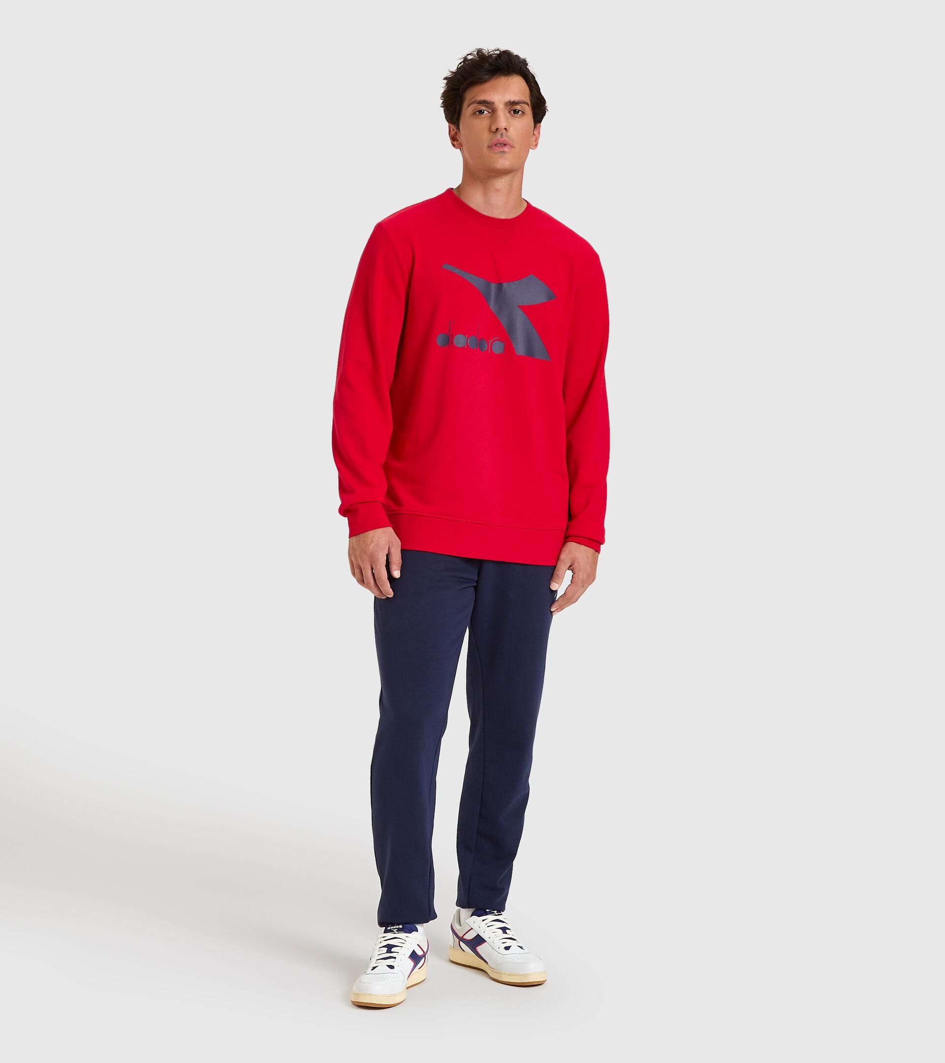 Crew-neck sweatshirt - Men SWEATSHIRT CREW LOGO CHROMIA TANGO RED - Diadora