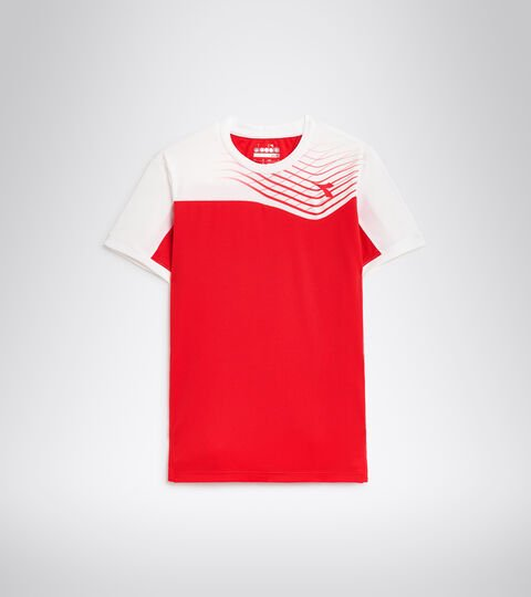 T-shirt de tennis - Junior J. T-SHIRT COURT ROUGE TOMATE - Diadora