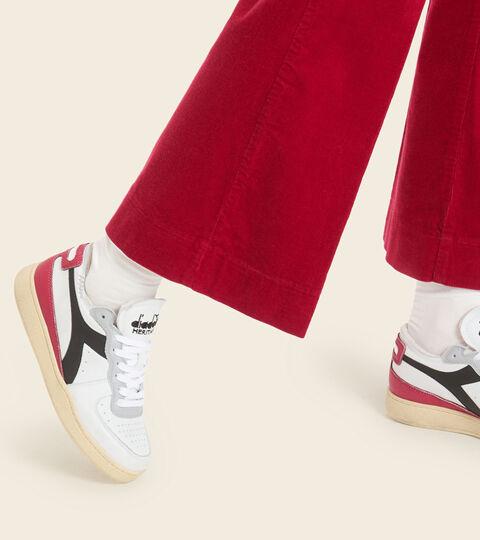 Footwear Heritage UNISEX MI BASKET ROW CUT WEISS/GRANAT/SCHWARZ Diadora