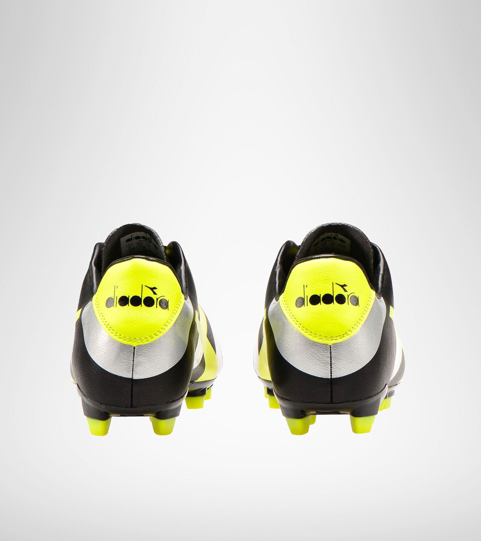 Botas de fútbol para terrenos compactos RAPTOR R LPU NERO/ARGENTO/GIALLO FL DD - Diadora
