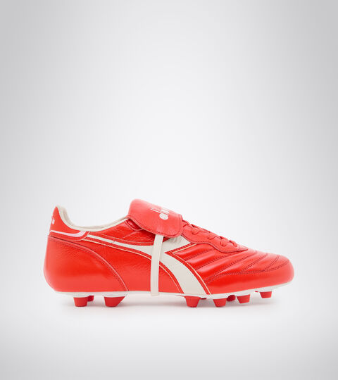 Chaussures de football pour terrains compacts - Made in Italy BRASIL ITALY LT+ MDPU ROUGE FLUO/BLANC - Diadora