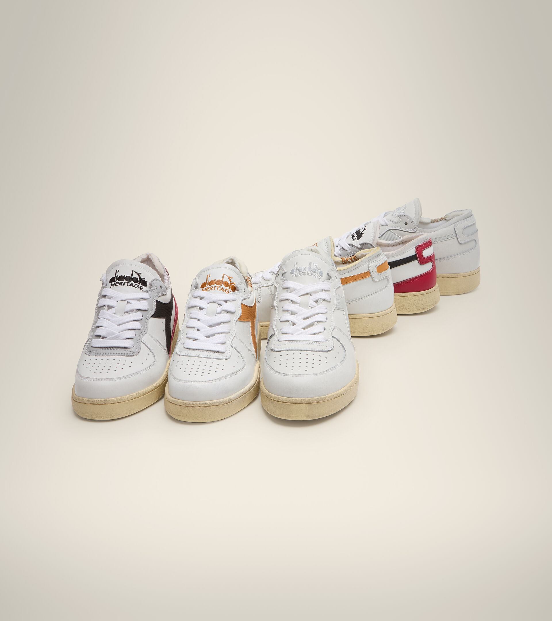 Heritage-Schuh - Unisex MI BASKET ROW CUT WEISS/NUGGET - Diadora