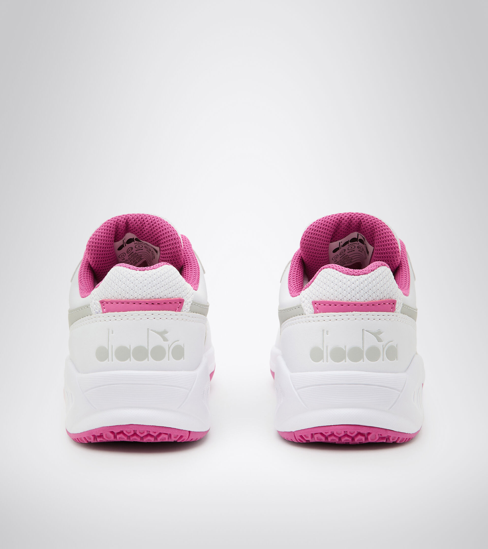 Chaussures de tennis pour terrains durs et terre battue - Unisexe Enfant S. CHALLENGE 3 SL JR BLANC/ROSE IBIS - Diadora