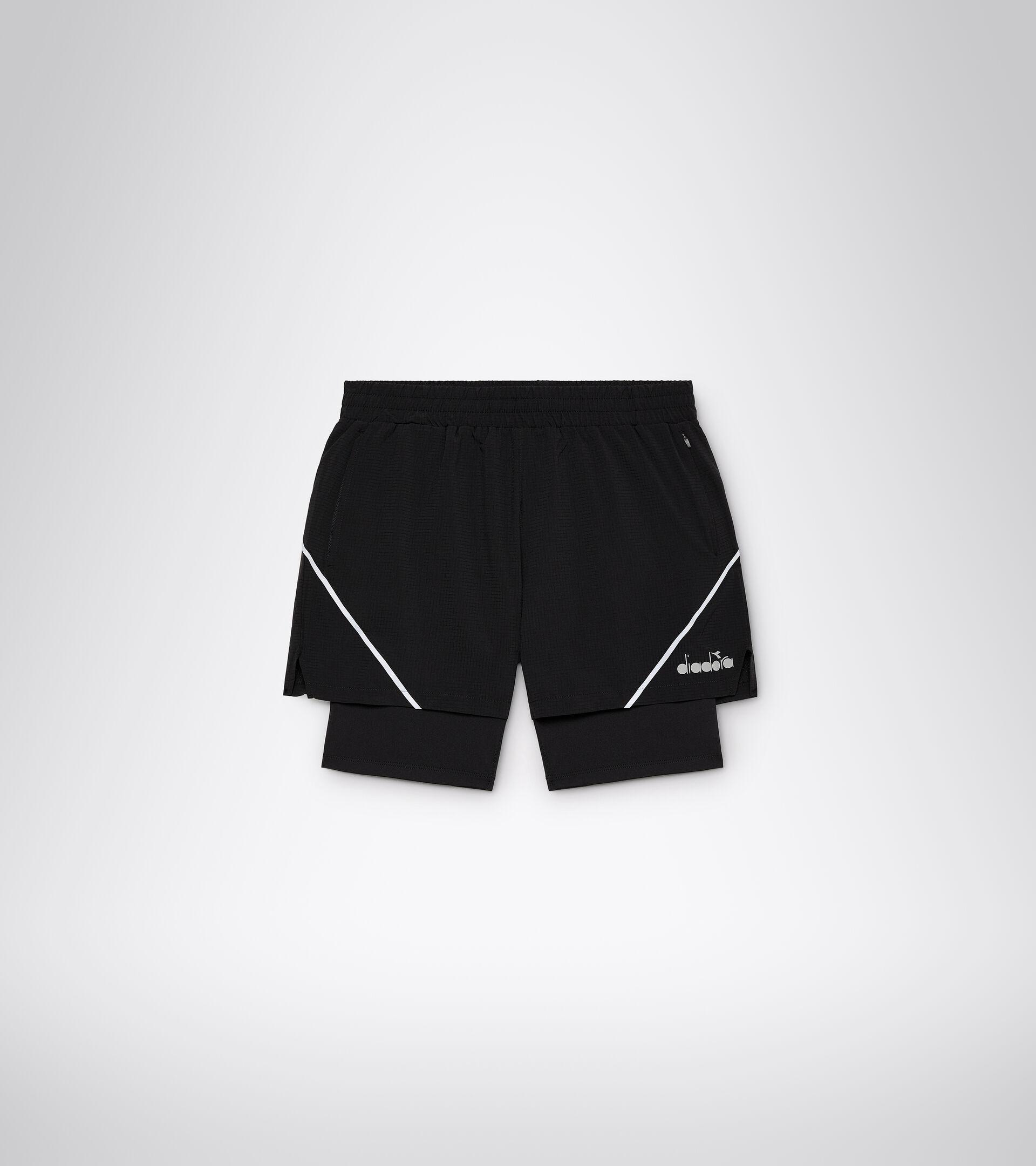 Running shorts - Men DOUBLE LAYER BERMUDA BLACK - Diadora
