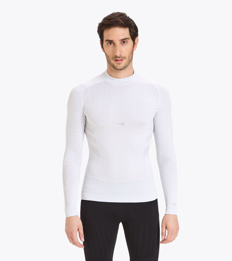 Long-sleeved training t-shirt - Men LS TURTLE NECK ACT OPTICAL WHITE - Diadora