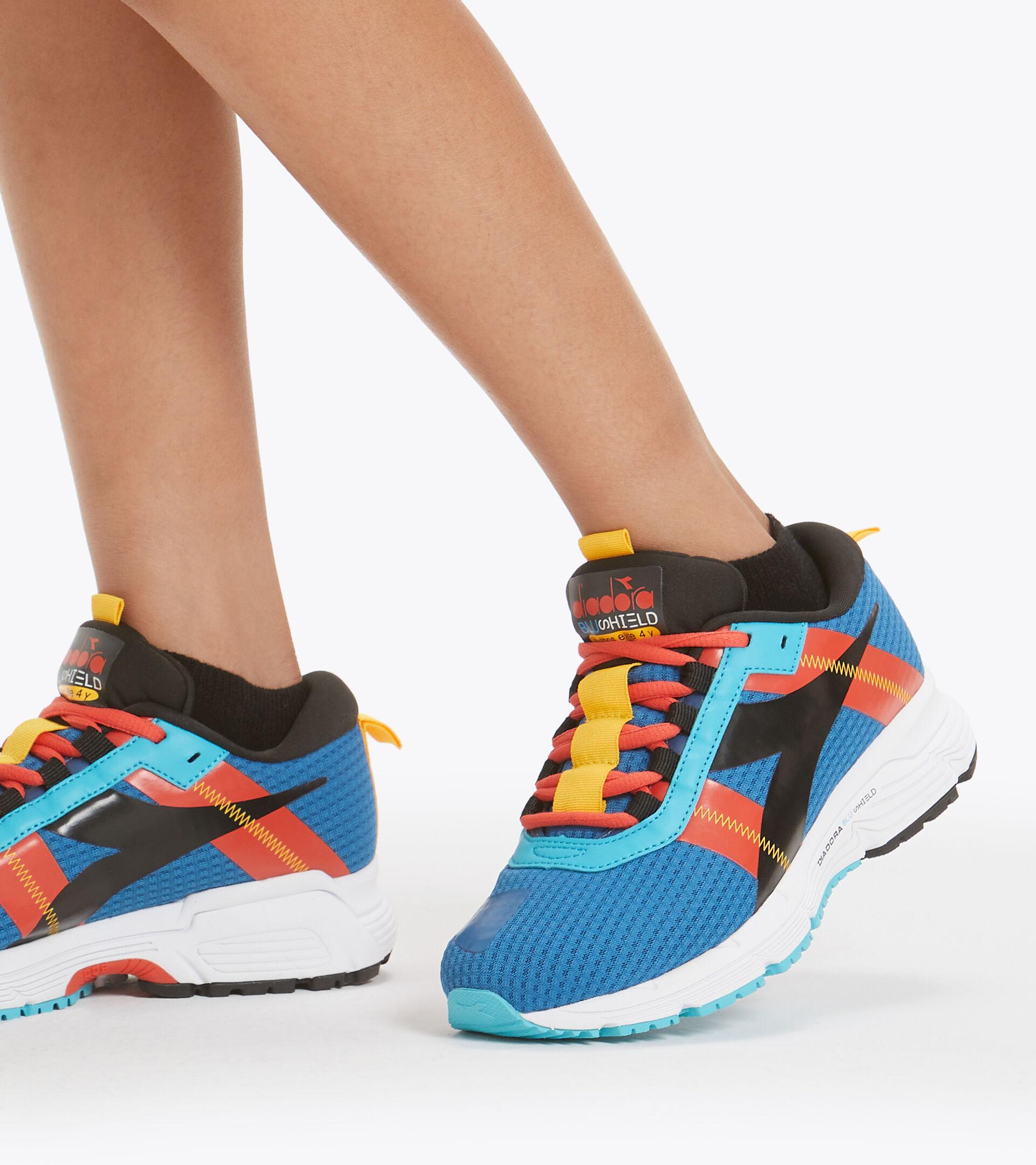 Chaussures de running - Unisexe enfant MYTHOS BLUSHIELD ELITE 4 Y BLEU MYKONOS/NOIR/RG FIESTA - Diadora