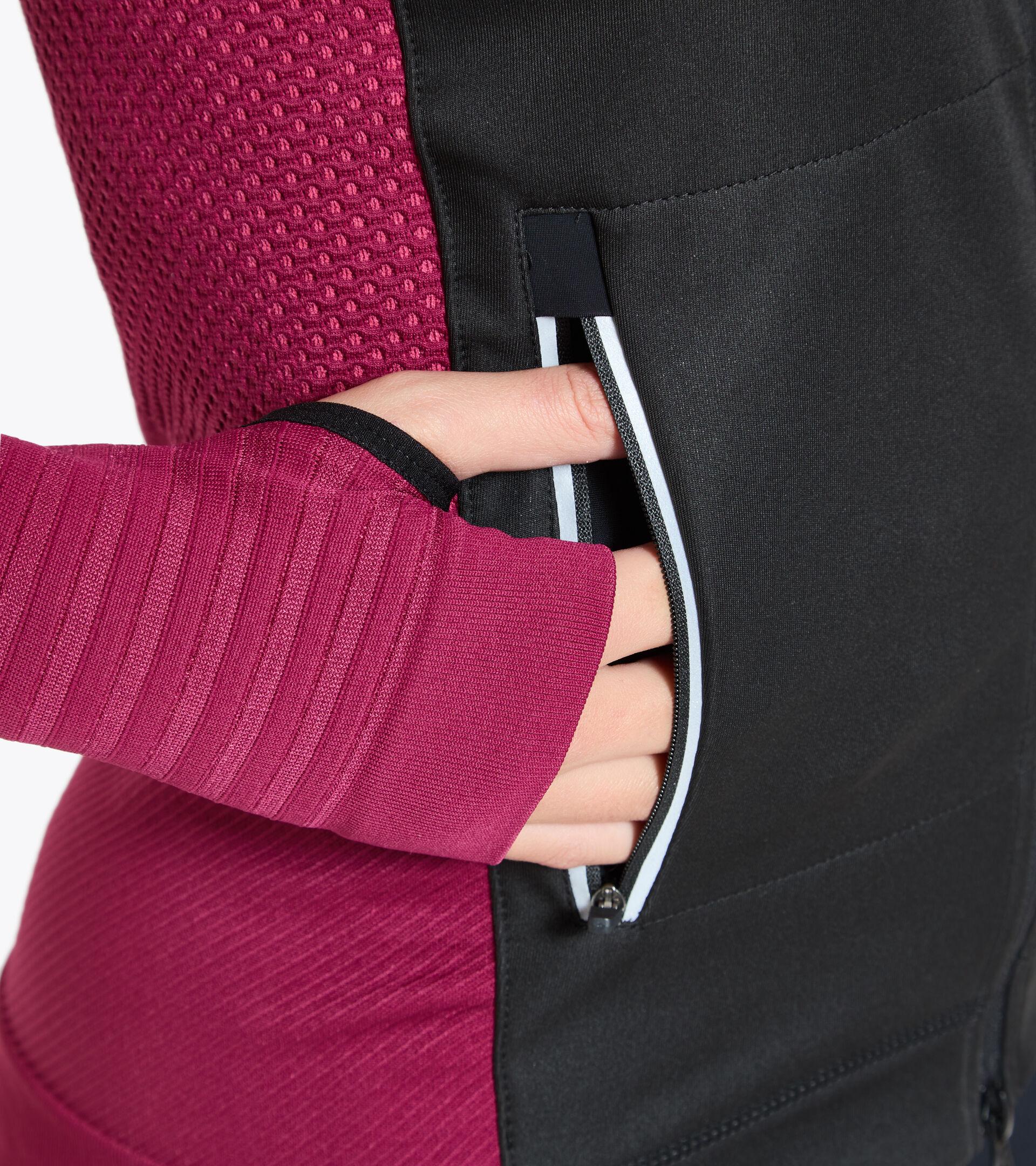 Italian-made running jacket - Women L. HIDDEN POWER JACKET VIOLET RUBINE - Diadora