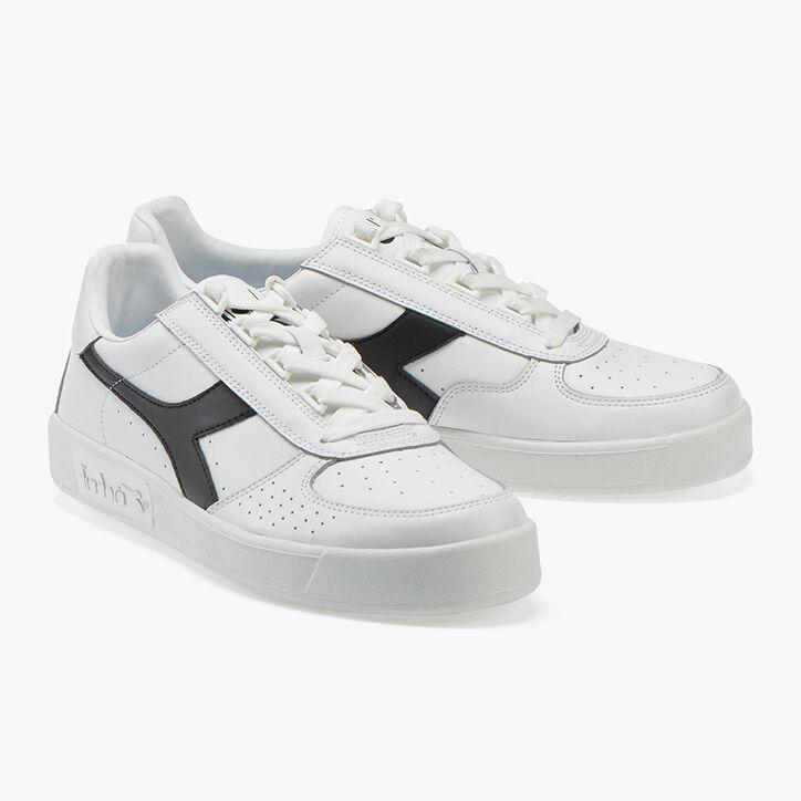 B. ELITE, WHITE/WHITE/BLACK, large