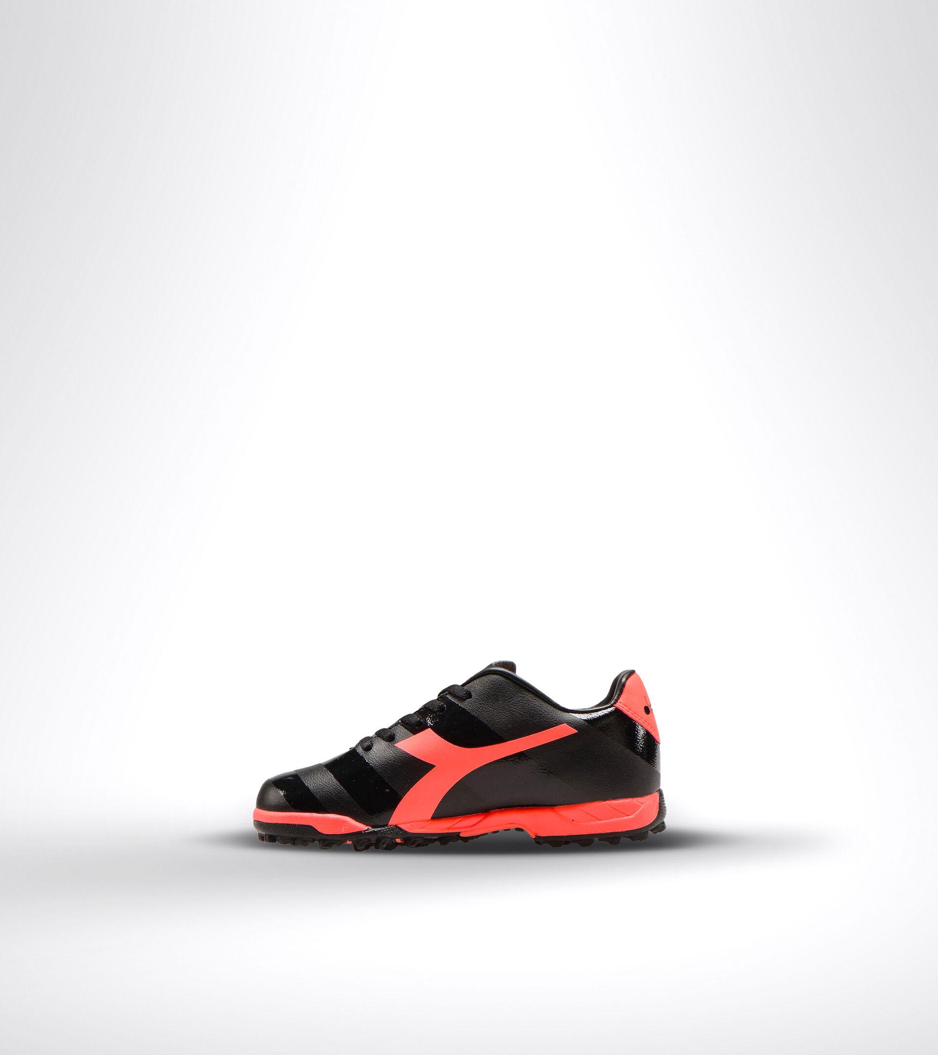 Hard ground and artificial turf football boot - Unisex kids RAPTOR R TF JR BLACK/RED FLUO - Diadora