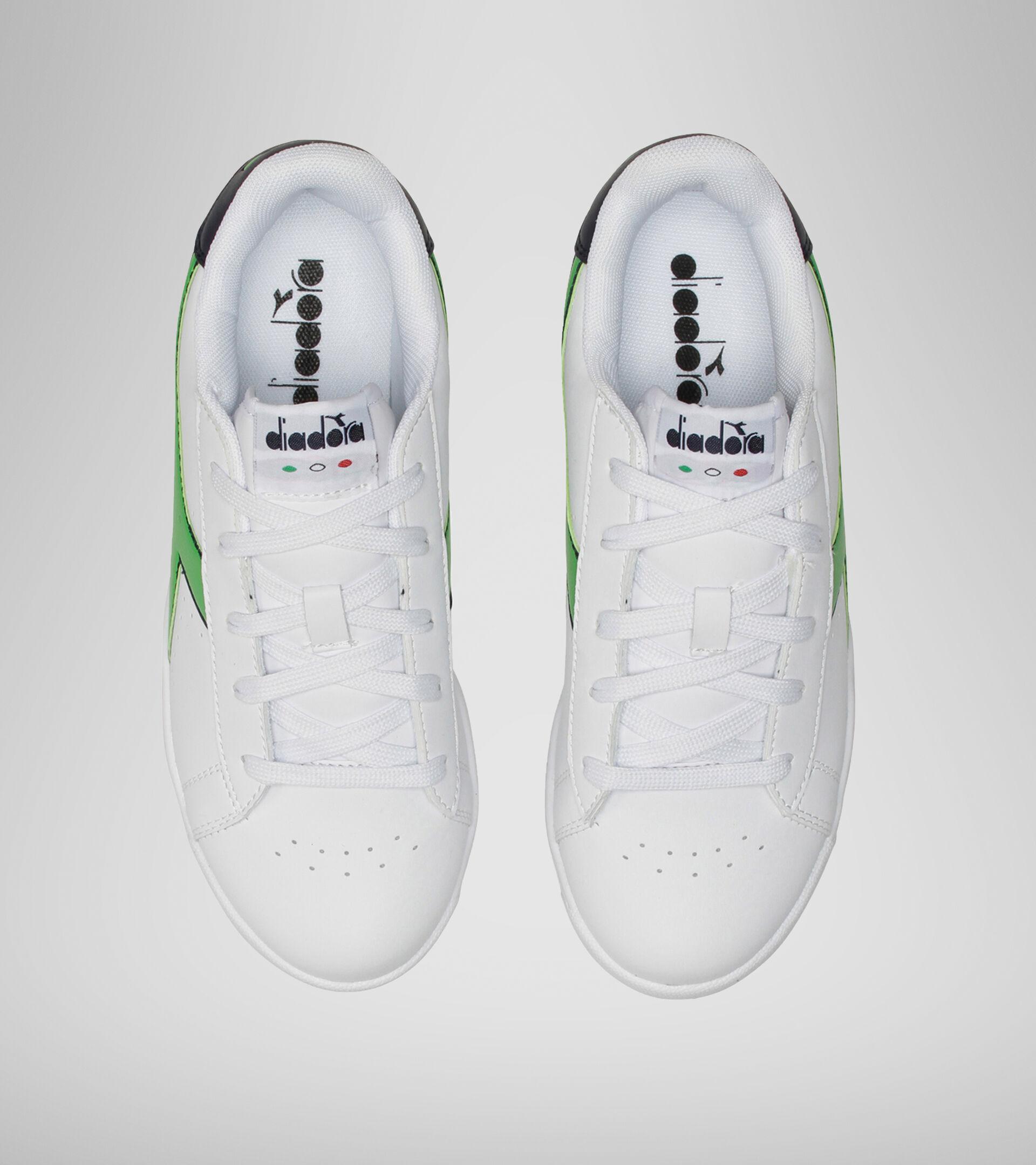 Footwear Sport BAMBINO GAME P GS WHITE/BLACK IRIS/CLASSIC GREEN Diadora