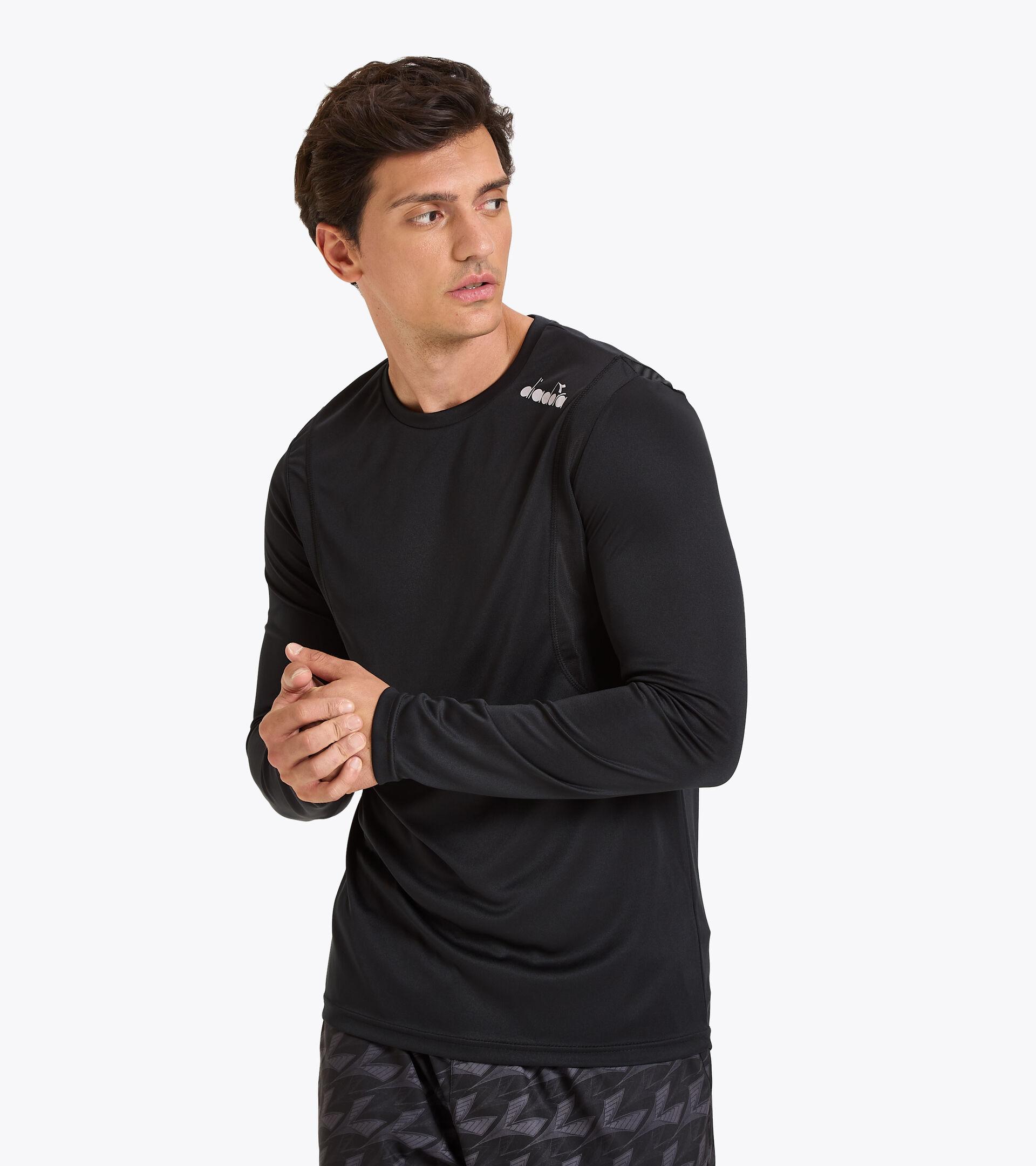 Camiseta para correr - Hombre LS CORE TEE NEGRO - Diadora