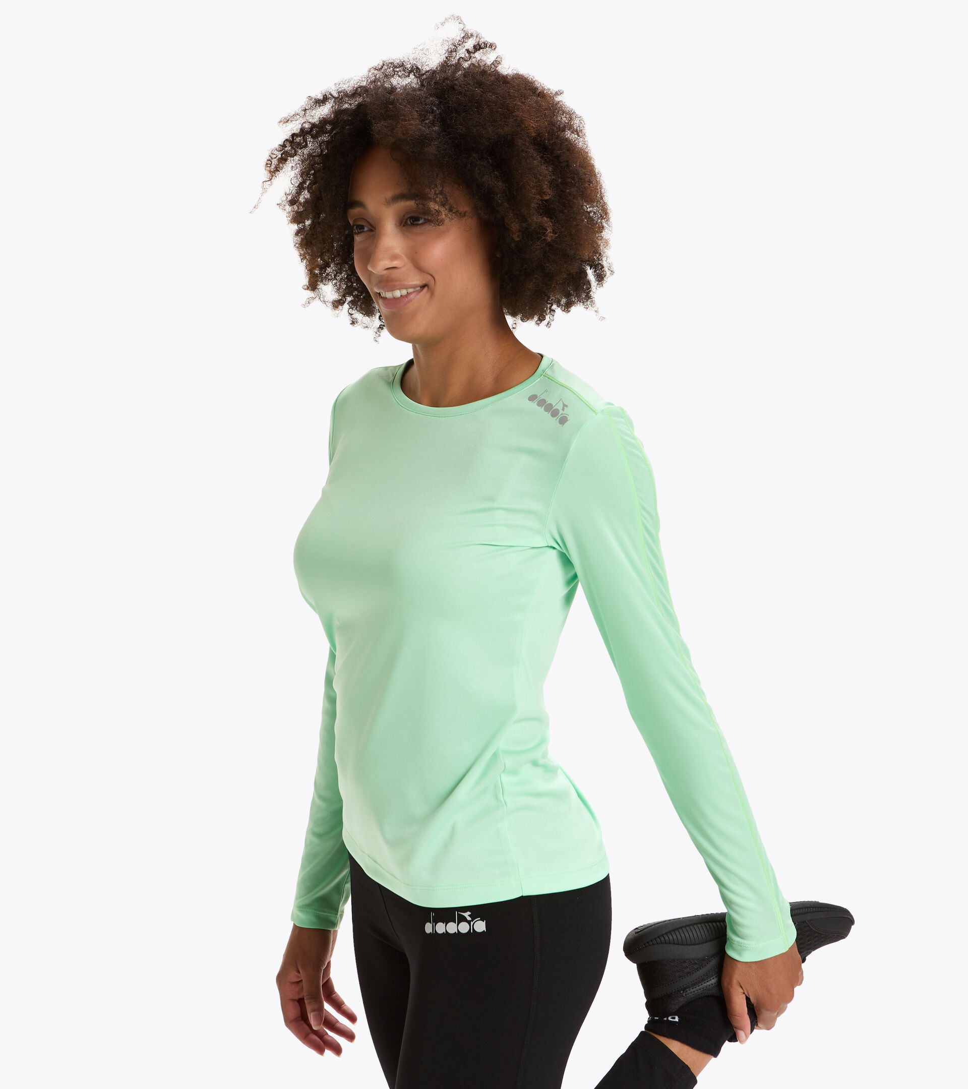 Camiseta para correr - Mujer L. LS CORE TEE VERDE FRESNO - Diadora