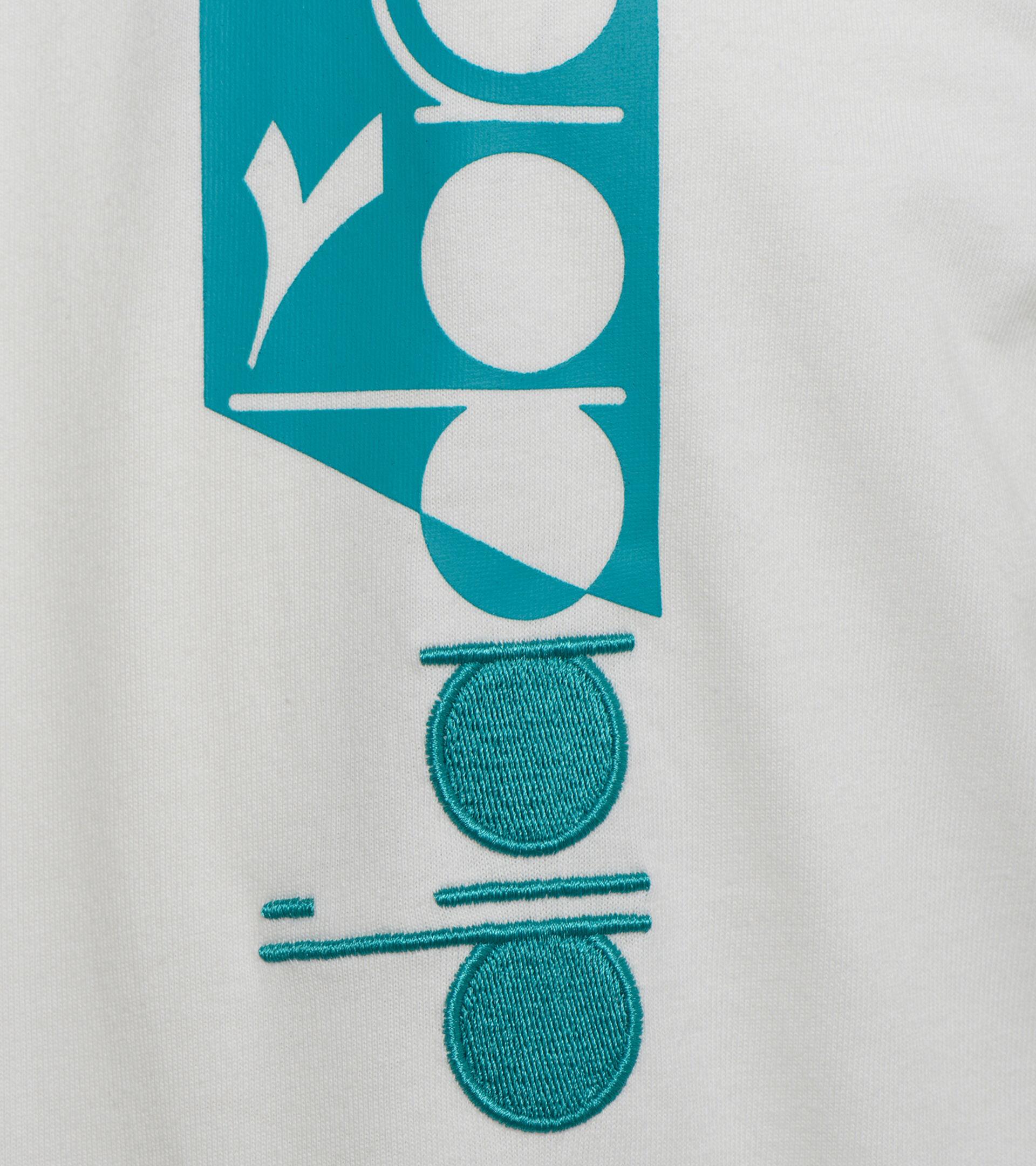 T-shirt - Unisex T-SHIRT SS ICON BLANCO LECHE/VERDE VIRIDIAN - Diadora