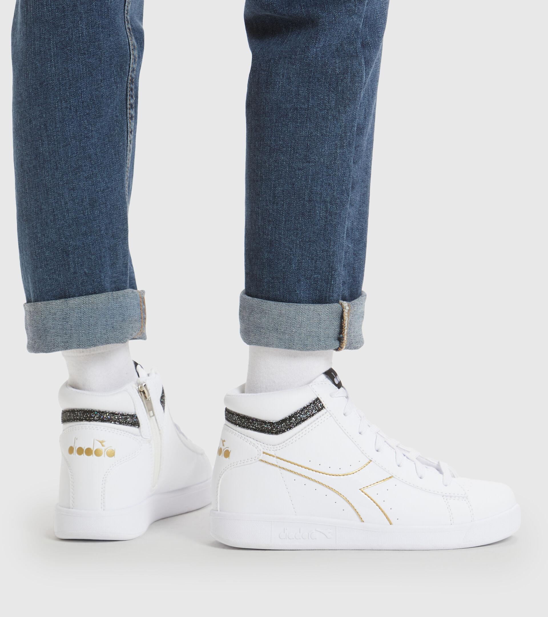 Footwear Sport BAMBINO GAME P HIGH GIRL GS WHITE/BLACK/GOLD Diadora
