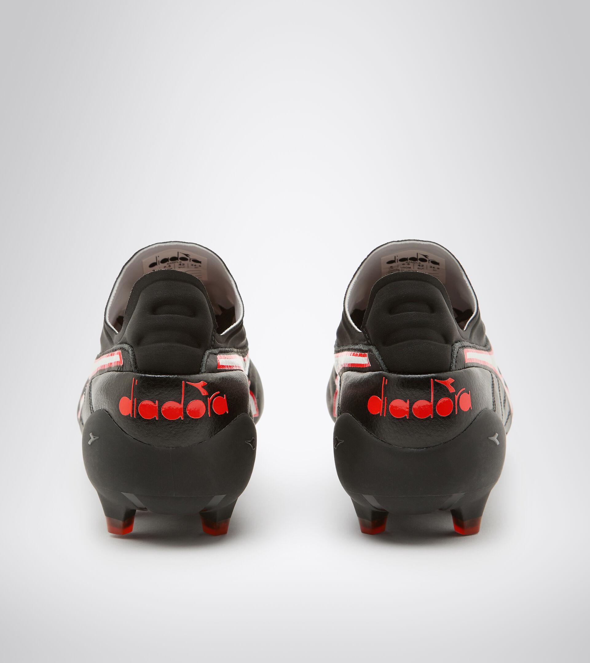 Chaussures de football pour terrains compacts BRASIL ELITE TECH LPX NOIR/BLANC/ROUGE FLUO - Diadora