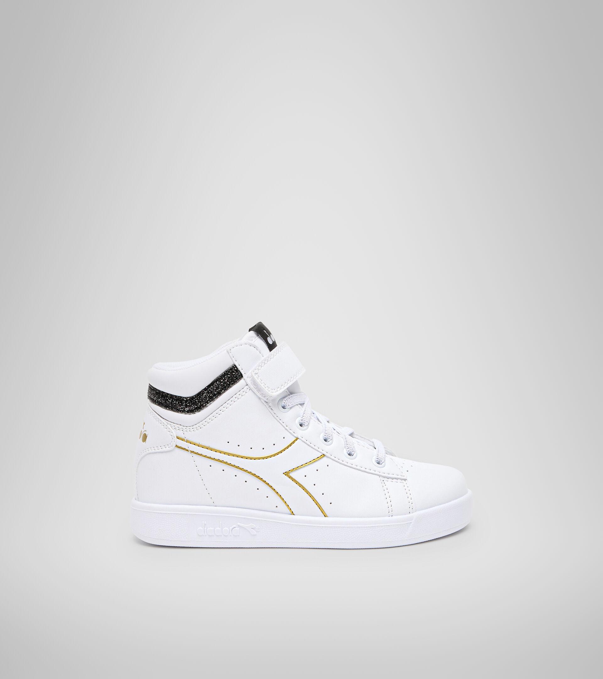 Sports shoes - Kids 4-8 years GAME P HIGH GIRL PS WHITE/BLACK/GOLD - Diadora