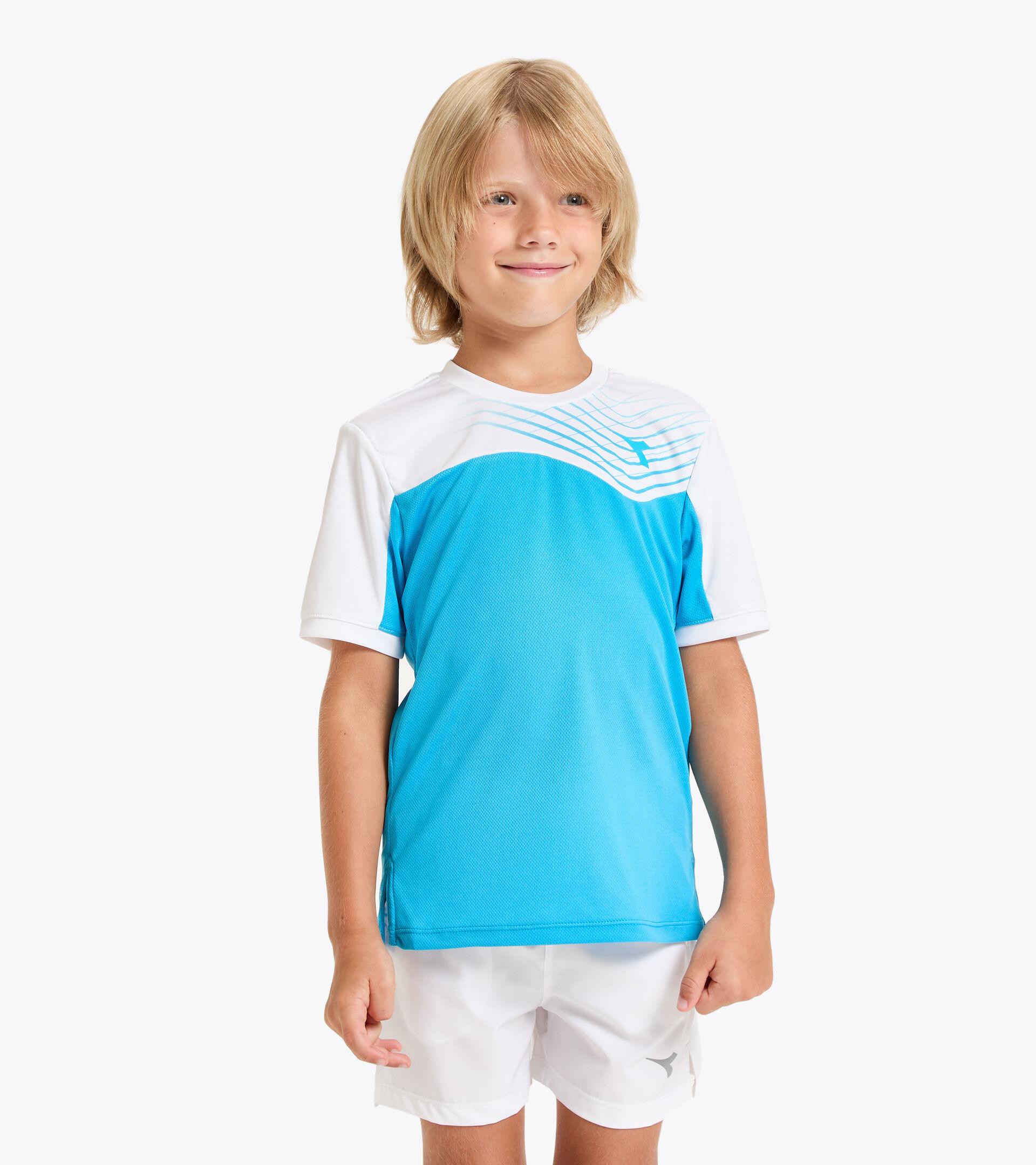 Camiseta de tenis - Junior J. T-SHIRT COURT AZUL REAL FLUO - Diadora