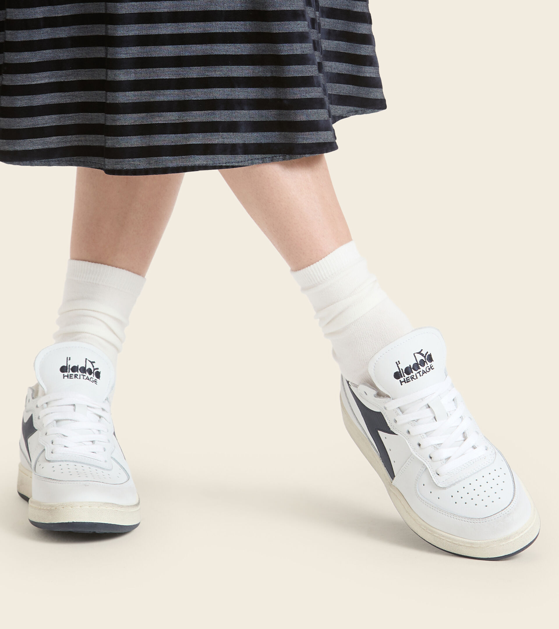 Footwear Heritage UNISEX MI BASKET ROW CUT WHITE/BLUE CORSAIR Diadora
