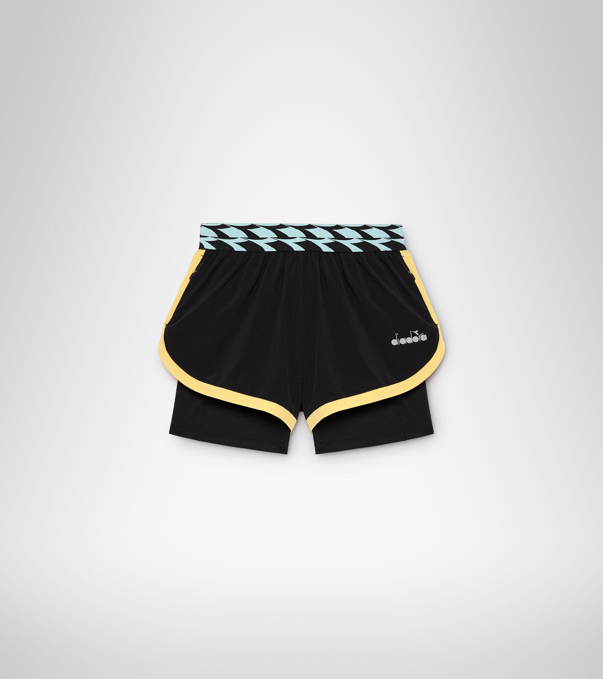 Shorts da running - Donna L. DOUBLE LAYER SHORTS NERO - Diadora