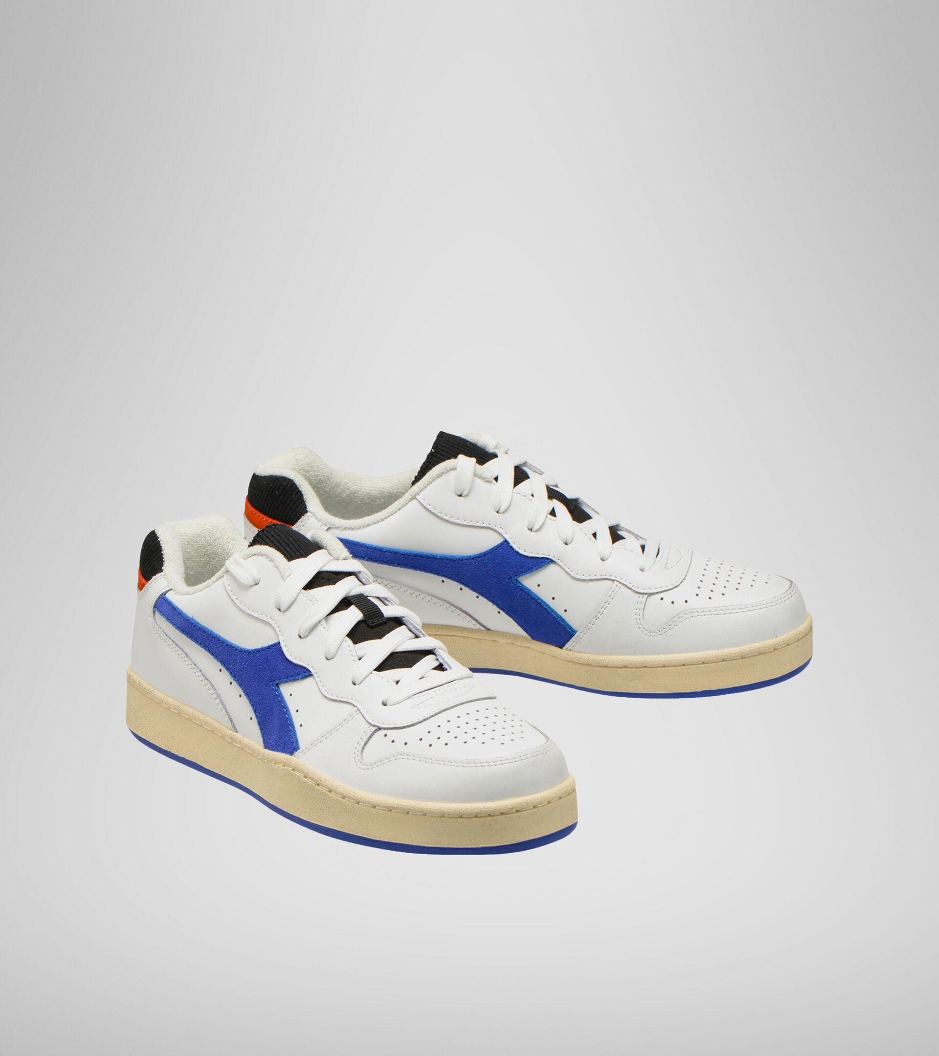 Footwear Sportswear UNISEX MI BASKET LOW ICONA WHITE/AMPARO BLUE/ORANGEADE Diadora