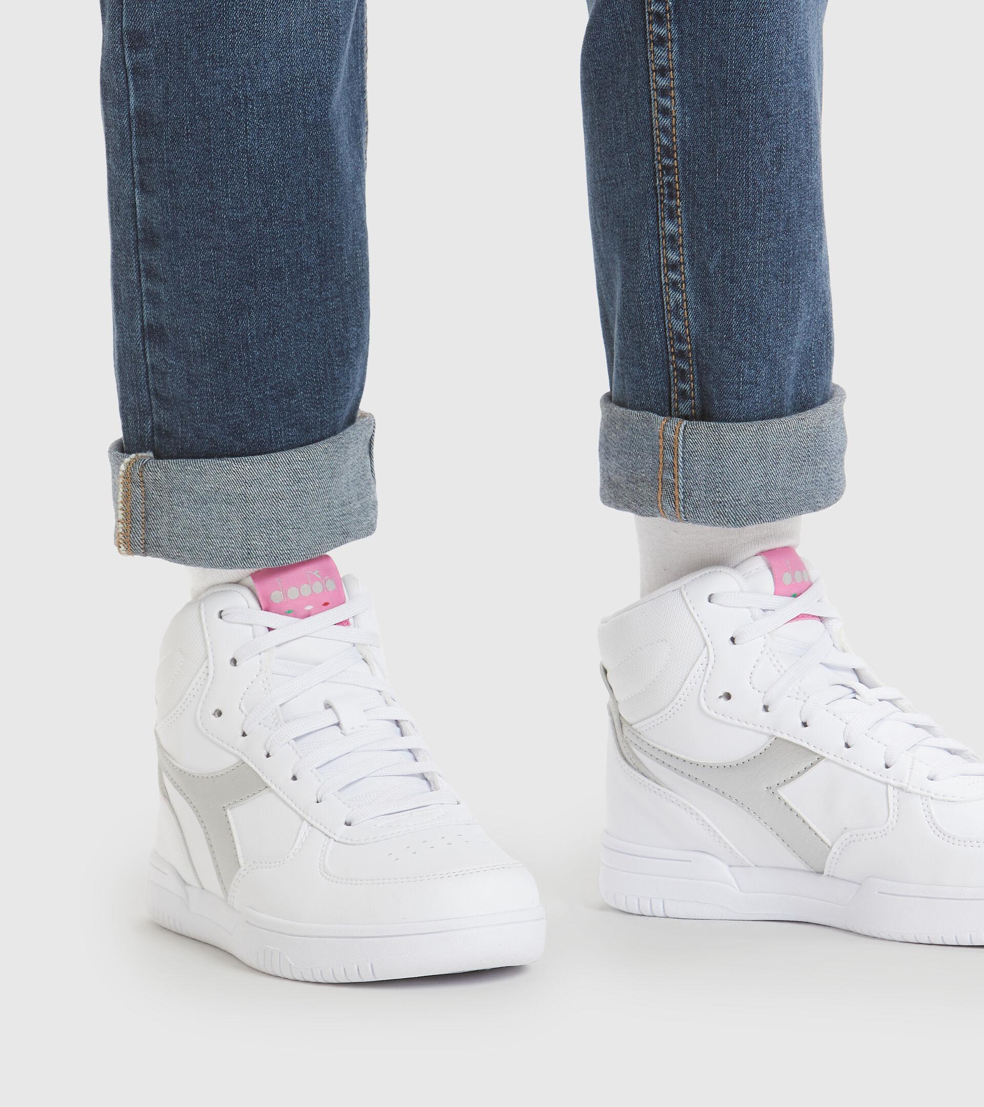 Footwear Sport BAMBINO RAPTOR MID GS WHITE/SILVER Diadora