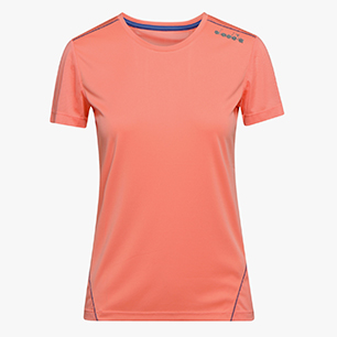 L. X-RUN SS T-SHIRT, PINK PEACH, medium