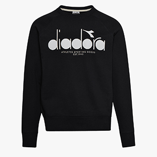 SWEATSHIRT CREW 5PALLE, BLACK/OPTICAL WHITE, medium