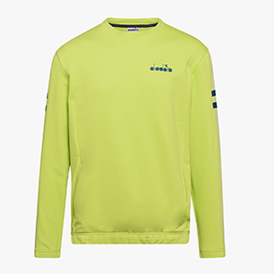 SWEATSHIRT CREW BLKBAR, LIME PUNCH, medium