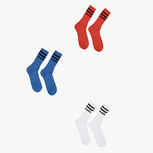 PAURA SOCKS, OPTICAL WHT/SKY-BLUE VIVID/RED, medium