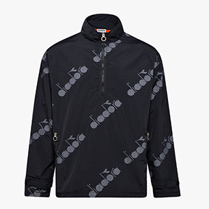 TRACK TOP 1/2 ZIP 5PALLE AOP, BLACK, medium