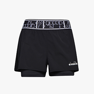 L. DOUBLE LAYER SHORTS, SCHWARZ, medium