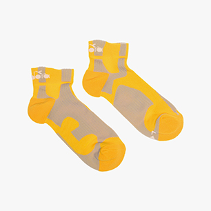 CUSHION QUARTER SOCKS, SAFFRON/OYSTER MUSHROOM, medium