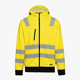 HOODIE ZIP HV ISO 20471, FLUORESCENT YELLOW, medium