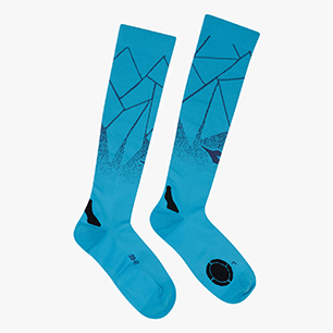 SOCKS OVER THE CALF, BLEU FLUORESCENT, medium