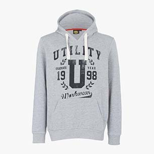 SWEATSHIRT HOOD GRAPHIC, GRIGIO MELANGE MEDIO, medium