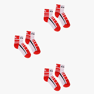 3 QUARTER SOCKS, LIVELY HIBISCUS RD/BLK/OPT WHT, medium