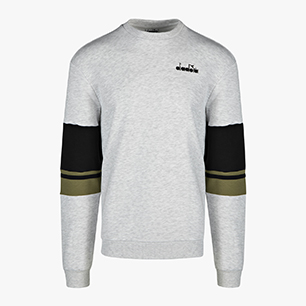 CREWNECK SWEAT LOGO, SUPER WHITE/LIGHT GRAY MELANGE, medium