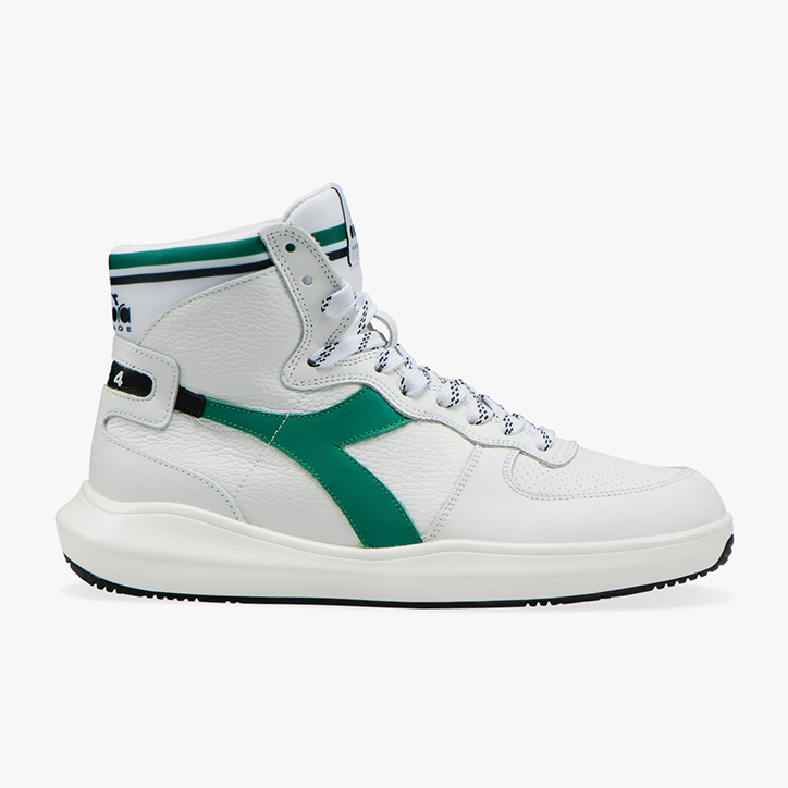 MI BASKET H LEATHER MDS, WHITE/PEPPER GREEN, large