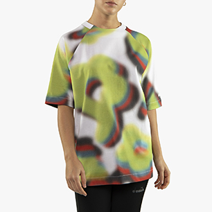 FLOWERS SHORT SLEEVE T-SHIRT AOP, OPTICAL WHITE/GREEN SPRING, medium