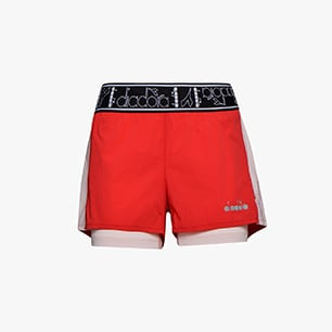 L. DOUBLE LAYER SHORTS, LIVELY HIBISCUS RED, medium