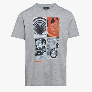 T-SHIRT GRAPHIC ORGANIC, MÉLANGE GRIS MOYEN CLAIR , medium