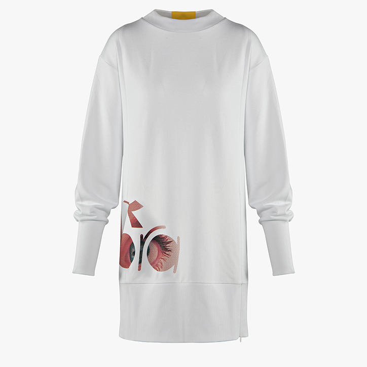 FLOWERS SWEATER/DRESS, OPTICAL WHITE, large