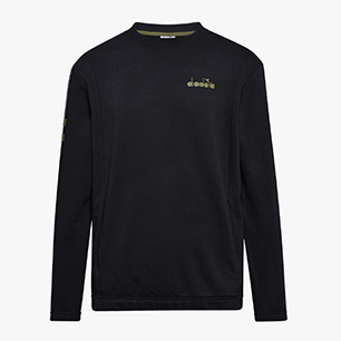 SWEATSHIRT CREW BLKBAR, SCHWARZ, medium